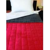 Bőrhatású ágytakaró 140x240 (bordó-szürke) Ágynemű, - textil NATURTEX