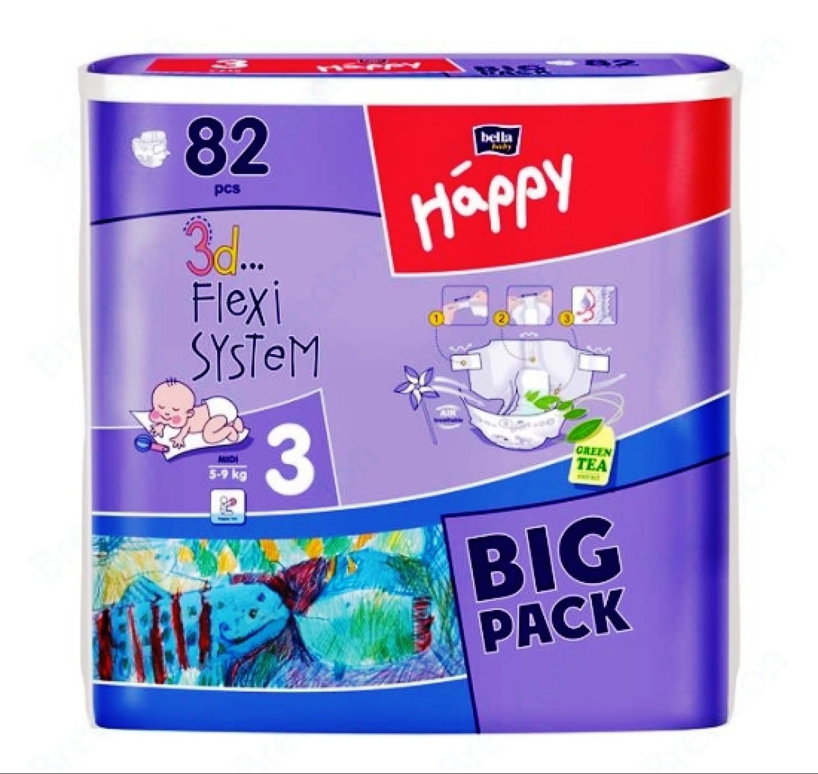 Bella Happy Midi Big Pack pelenka (5-9kg) x82