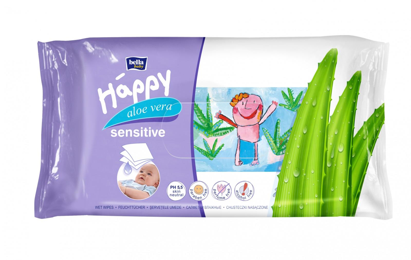 Bella Baby Happy Nedves Törlőkendő (Sensitive Aloe 4x64db)